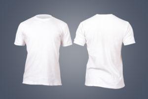 Hvir ren t-skjorte vist fra foran og bak.